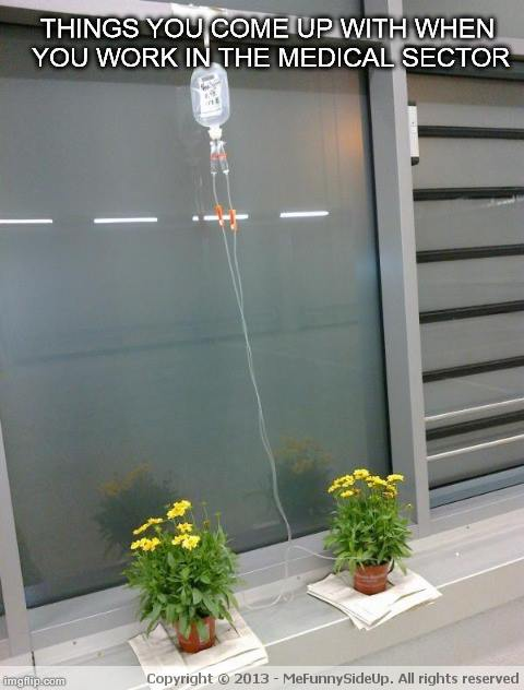 IV bag watering device