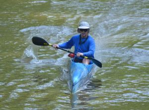 Steve in his Mohican surf ski at the 2013 Wildcat Creek Race