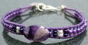 Chevron Amethyst Leather Wrap Bracelet