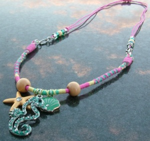 beachy necklace, beach necklace, summer necklace, handmade necklace, Threads of Hope, adjustable necklace, Trinity Jewelry by Design