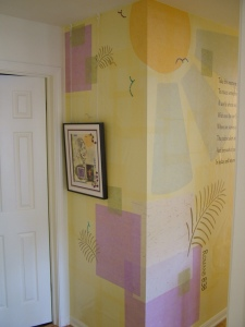 wall mural, unyru paper, Indian paper, condo mural, mural on the wall, handmade mural, sun mural, recovery image, mural on wall