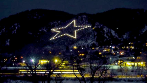 Palmer Lake Star, Palmer Lake, Colorado, Christmas star, December star, mountain, star on the side of a mountain, star at night