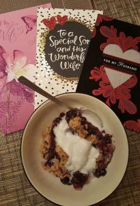 blueberry, buckle, compote, crumble, bake, Valentines Day, special occasion, humor, funny, baking, love