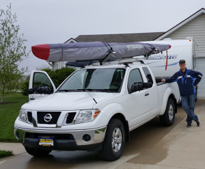 Camplite, husband, kayak, Scorpius, rack, roof, outrigger, canoe, man, towing, camper, travel, trailer, home, Nissan, Frontier, camping