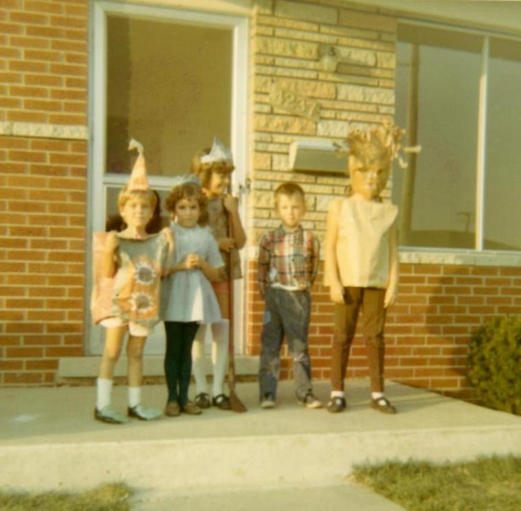 Halloween, 1960s, 1967, front porch, Linville, Warren, Michigan, Kids, children, costumes