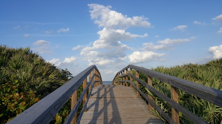 bridge, beach, walkway, puffy clouds, Florida, Cape Canaveral