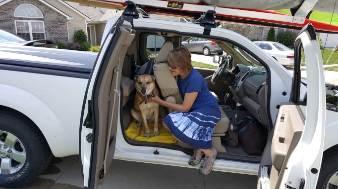 dog in truck, jump seat, German shepherd, woman and dog, travelling, Nissan Frontier, pet dog