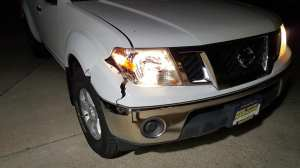 Nissan Frontier, deer, impact, hit, accident, crossed the road, Coldwater Rd., Fort Wayne, Indiana, white, truck